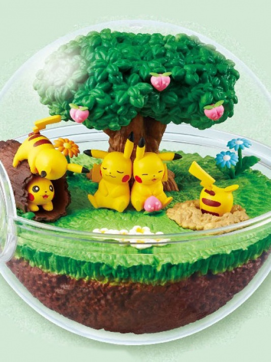 Pokemon Terrarium Collection DX Pikachu in sunny forest.